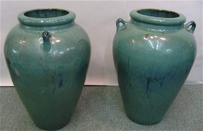 88A: Pair large pottery handled green glaze urns
