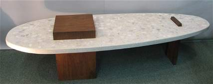 375A: Modern stone slab table w/ wood supports