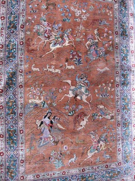 2: A Silk Hunting Qum Rug,