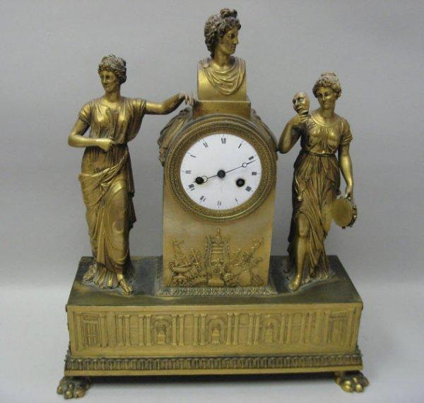 10: A 19th C French Gilt Bronze Clock,