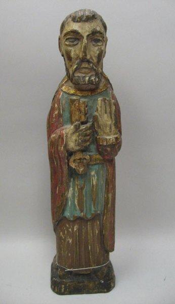 21: A Carved Wood Figure of a Saint,