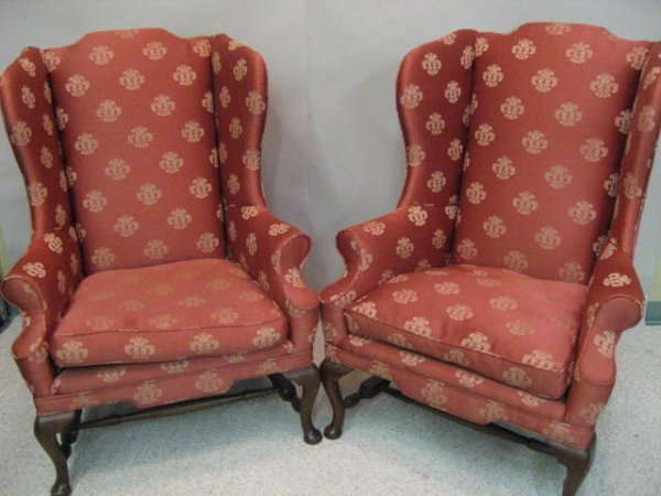6: A Pair of Wingback Chairs,