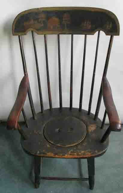 21: An Early New England Painted Potty Chair,