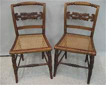 421 A Pair of Tiger Maple Federal Chairs
