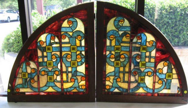 11: Two Quarter Moon Stained Glass Panels,
