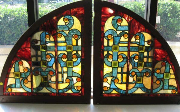 12: Two Quarter Moon Stained Glass Panels,