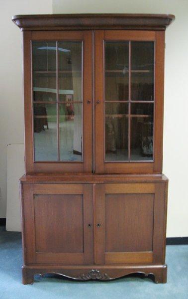 19: A 19th C Walnut Step-back Cabinet,