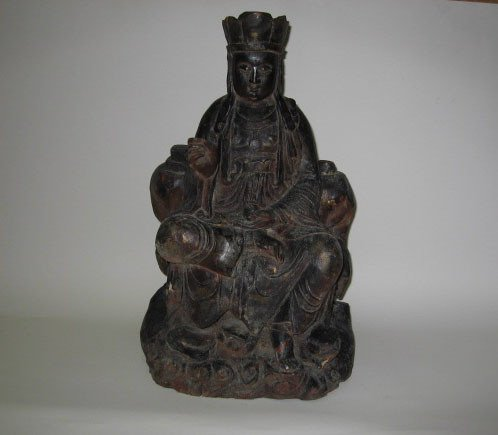 22: A 19th C Chinese Carved Wood Figure,