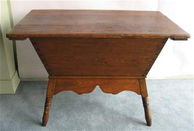 451: An Early Lidded Pine Dough Box on Stand,