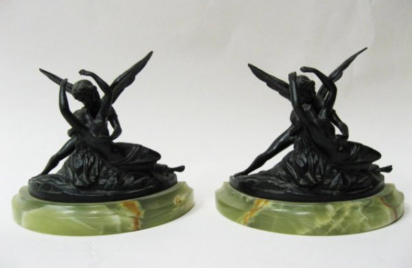 11: A Pair of Bronze Figural Bookends,