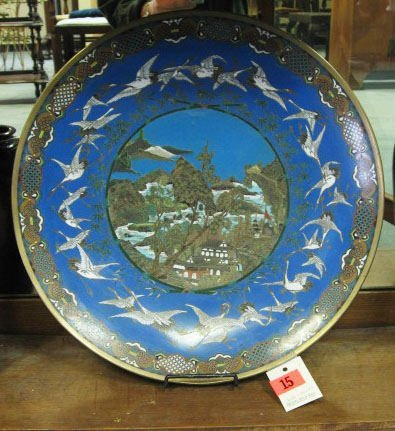 15: An Early Asian Cloisonne Charger,
