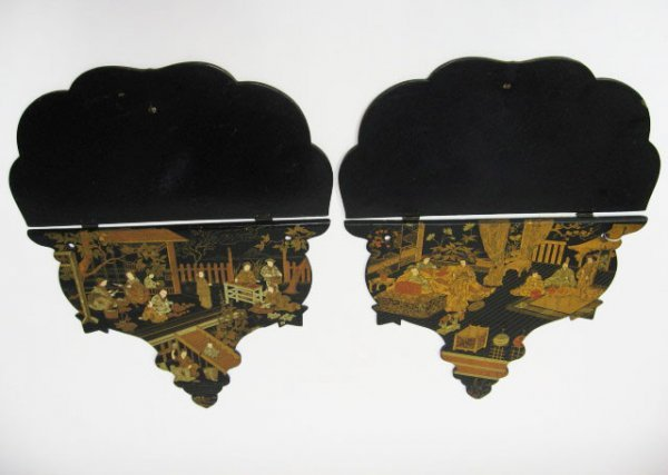 24: Pair 19th C Chinese Black Lacquer Shelves