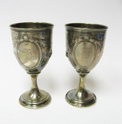 8: Two Coin Silver Goblets,