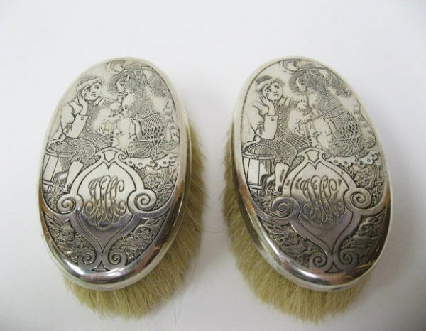 13: Two Child's Sterling Back Brushes,