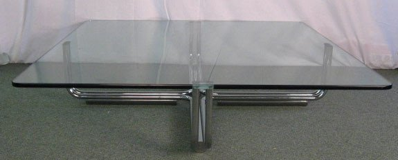 1005: Coffee Table w/ chrome base and glass top