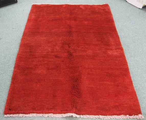 1009: Red Gabeh Rug, 6' x 4'