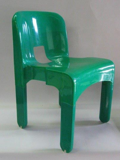 1019: Joe Colombo for Kartell Molded Green Plastic Chai