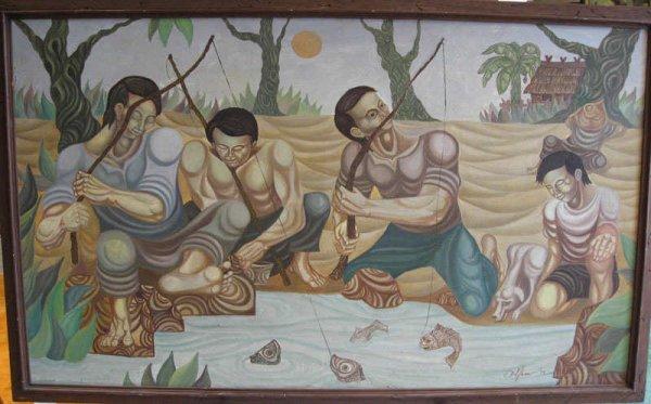 1020: Thai Oil on Canvas Painting of 3 Fishermen