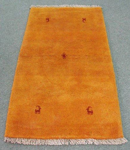 """1022: Orange Gabeh Rug w/ animals, 4'11"""" x 2'8"""""""