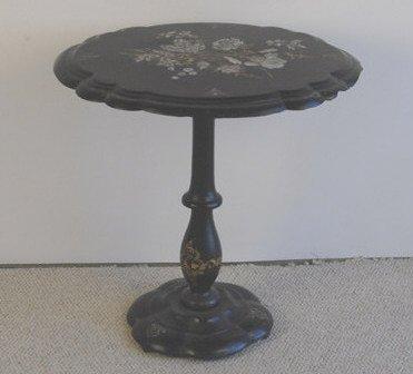 1003: A 19th C Papier Mache Tilt-top Table,