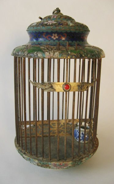 1021: An Early Cloisonne Bird Cage,