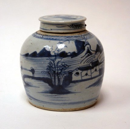 1023: A Chinese Blue & White Lidded Ginger Jar,