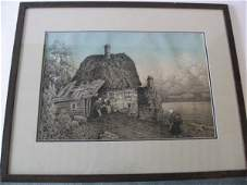 1095: Russian Ink / Watercolor of People at a Farmhouse