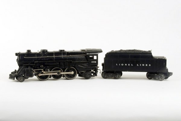 1614: Lionel O gauge #675 Engine with #6466WX Tender,