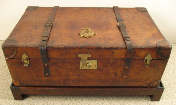 3: English Victorian Leather Military Trunk