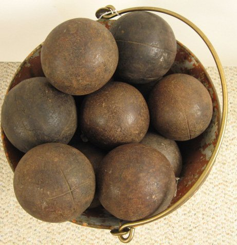4: 15 Bocce Balls in 19th C French Bucket,