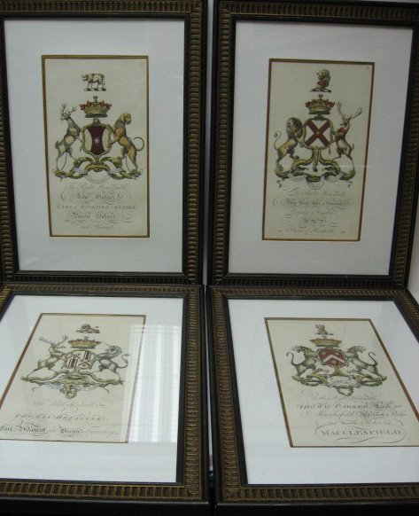5: Set of 4 English Heraldry Handcolored Engravings