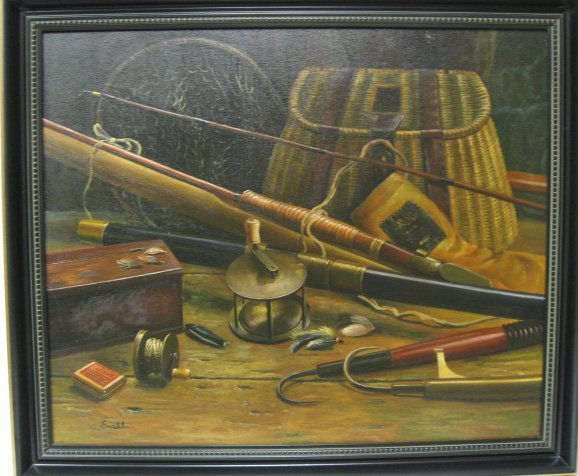 21: Snell Oil on Canvas of Fishing Rods & Reels