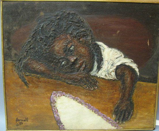 3: African American Oil Painting on Board, by Harrel