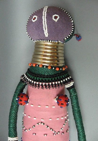 14: Zulu Tribal Fertility Doll with beads and rings,