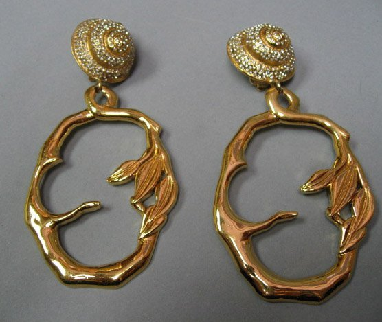 19: Lanvin Paris Pendant Shell Earrings