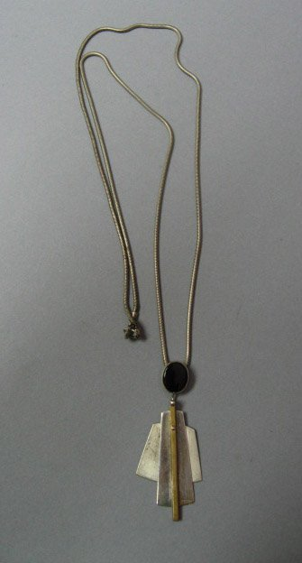 21: Sterling Necklace with Pendant on Chain Art Deco