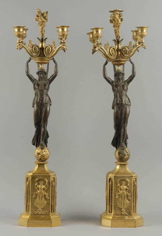1001: A Pair of 19th C French Gilt Bronze Candelabra,