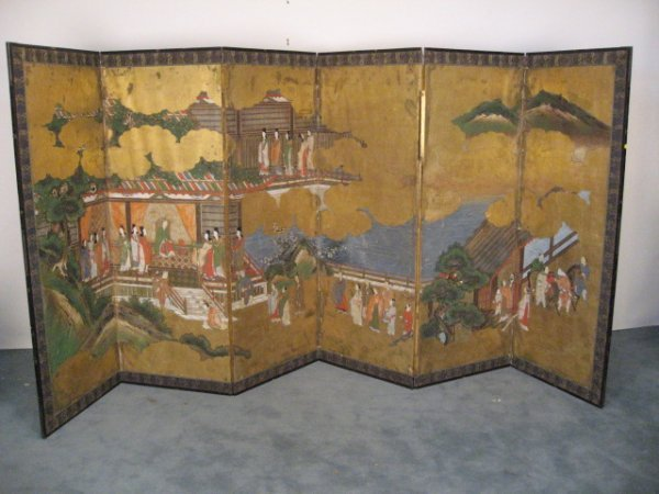 1008: A 19th C Six-fold Asian Screen,