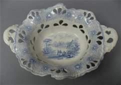 1530 A Blue Transferware Center Bowl