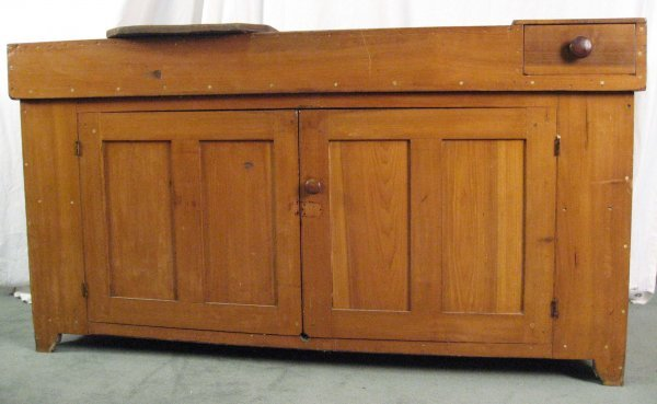 1: A Large 19th C Dry Sink, of mixed woods, having a sl