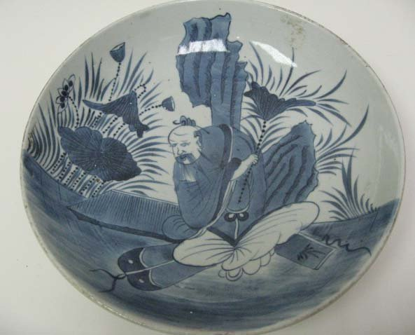 5: Chinese Blue & White Charger depicting an immortal,