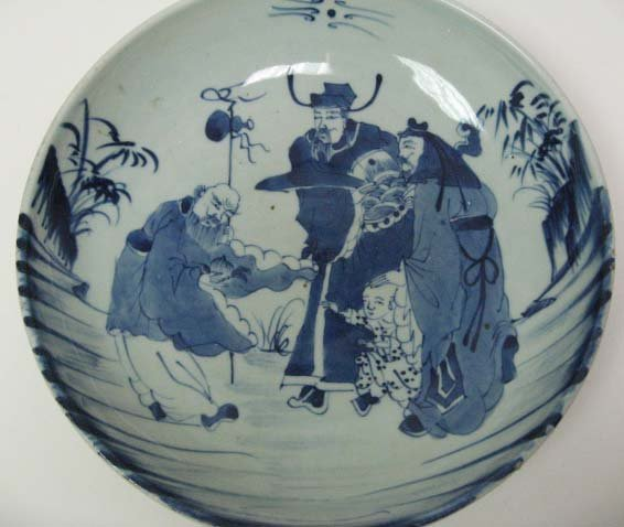 8: Chinese Blue & White Charger depicting scholars,