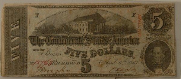 1: Confederate $5 Bill Richmond 4/6/1861