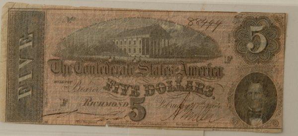 2: Confederate $5 Bill Richmond 2/17/1864