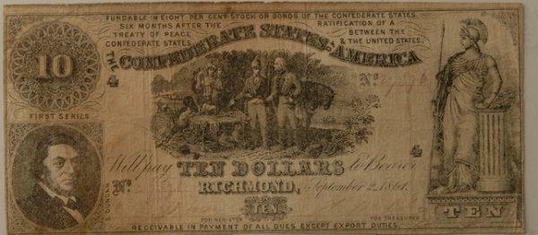 3: Confederate $10 Bill Richmond 9/2/1861