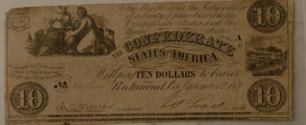 4: Confederate $10 Bill Richmond 9/2/1861
