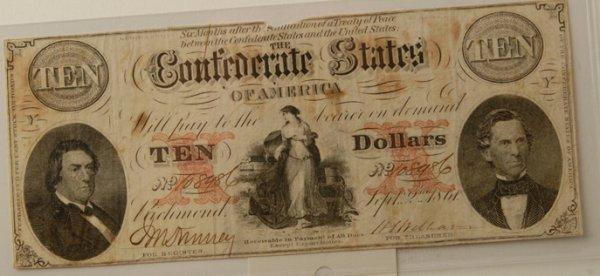 5: Confederate $10 Bill Richmond 9/2/1861