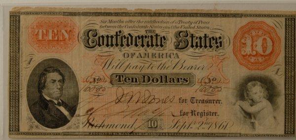 6: Confederate $10 Bill Richmond 9/2/1861