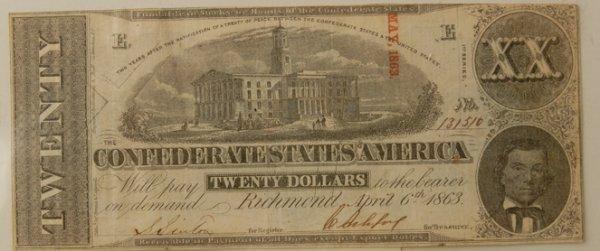 7: Confederate $20 Bill Richmond 4/6/1863