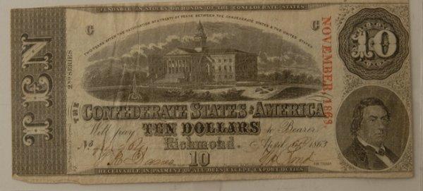 8: Confederate $10 Bill Richmond 4/6/1863